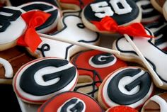 UGA gameday cookies! :) I NEED to make these on for the game on Saturday!