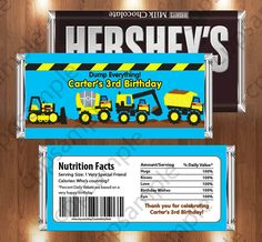 Tonka Truck Printable Candy Bar Wrappers -Tonka Truck Construction Birthday Party - Digital File on Etsy, $3.50