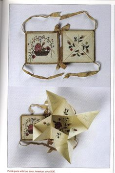 a book form with a victorian puzzle purse and a love token circa 1830