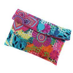 Porte-cartes coloré en tissu turquoise et rose