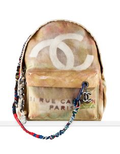 Large graffiti printed canvas backpack... - CHANEL