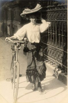 Street Style ~ London ~ 1906...can you believe they actually dress like this to ride a bicycle.