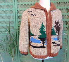 Cowichan Sweater Moose & Landscape Scene Knit Sweater, Chunky Sweater Coat, Zip Up Leather Elbow Patches, Boho Sweater Ugly Sweater by RetroRebelTrading on Etsy https://www.etsy.com/listing/573396336/cowichan-sweater-moose-landscape-scene