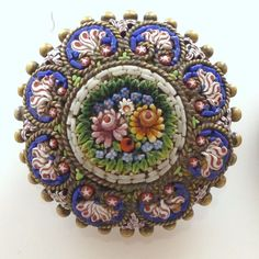 Vtg Victorian Micro Mosaic Flower Floral Brooch Pin Italian Italy Antique Gilt