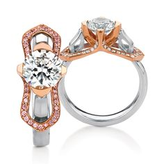 Elgin engagement ring by MaeVona: Beautifully tapered shank curves into the head, with bow-like 'wings' framing the center stone, set with pave diamond accents. Matching wedding band available with pave diamonds. Named after the Scottish town of Elgin
