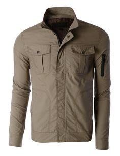 LE3NO Mens Mediumweight Stand Collar Zip Up Military Jacket