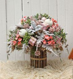 Купить Зимний розовый букет - розовый, прованс, шебби, Новый Год, рождество, рождественский декор