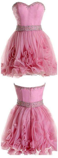 Blush Pink Beading Short Cute Homecoming Dress