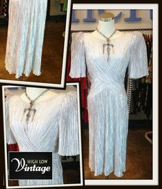 Vintage Mary McFadden Silver Gray Dress Fortuny by HighLowVintage