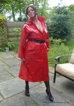 Red is the colour of passion, check out this beautiful babe in her hot RED Rubber Rainwear!