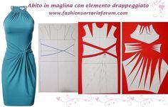 Abito in maglina, con scollo arricciato ed elemento drappeggiato raccolto in un nodo. Come cucire questo abito è in forum  http://www.fashionsartoriaforum.com/t3-abito-in-maglina-drappeggiato