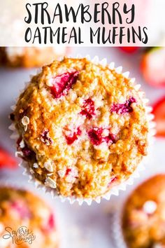 Strawberry Oatmeal Muffins are a delicious treat for breakfast or brunch! They are filled with healthy ingredients and absolutely freezer friendly. Make a double batch to ease your busy mornings, or tuck them into lunch boxes as an extra treat! Great for Mother's Day brunch, too. | #recipe #easyrecipes #muffins #breakfast #brunch #mothersday #strawberry #strawberries #strawberryrecipes #muffinrecipes #healthy #kidfriendly #freezerfriendly #freezercooking #lunchbox #mealprep #makeahead