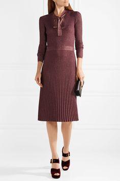 Prada | Pussy-bow metallic ribbed-knit midi dress | NET-A-PORTER.COM