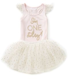 1a5a2e8545e9 Mud Pie Baby Girls 12-18 Months I'm One Today Birthday Tank Top & Dotted  Tutu Set