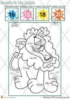 Teacher's Pet - Jungle Addition Colouring Puzzle 0-10 - Premium Printable Game / Activity - EYFS, KS1, KS2, rumble, jungle animals, calculation, colour, numbers, add