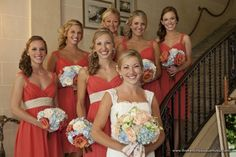 Coral Bridesmaid Dresses and Hints of Coral Flowers in Bouquets - The French Bouquet - LSD Photography