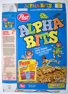 Post Alpha-Bits Cereal Box (1989)... I remember even as a kid being irked that this cereal was supposed to be a learning tool yet Alphabet was spelled wrong... hahahaa! (photo credit: Gregg Koenig)