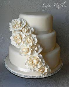 Sugar Ruffles, Elegant Wedding Cakes. Barrow in Furness and the Lake District, Cumbria: Rose Cascade Wedding Cake