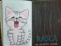 "Destroza este diario/ Wreck this journal ""Rasca con un objeto afilado"" #kitty"