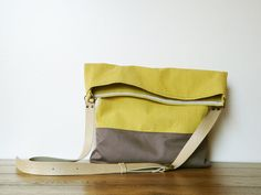 canvas tote bag yellow grey modern fold over bag by SKmodell,