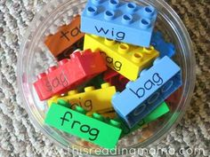 19 Ridiculously Simple DIYs Every Elementary School Teacher Should Know - sentence structure game with Legos.