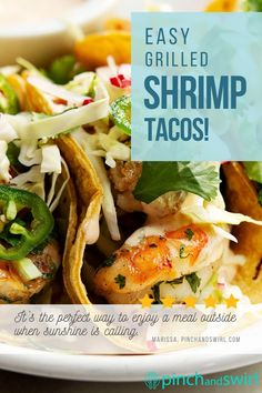 An easy recipe for Grilled Shrimp Tacos with cabbage slaw and a creamy spicy sauce. Corn tortillas are lightly charred on the grill while shrimp are tossed in a spicy marinade and grilled to perfection. One of those healthy recipes you'll return to all summer long! Easy Summer Meals, Healthy Summer Recipes, Easy Dinner Recipes, Appetizer Recipes, Seafood Recipes, Mexican Food Recipes, Vegetarian Recipes, Spicy Grilled Shrimp, Healthiest Seafood