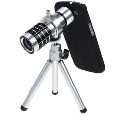 Convertit instantanément votre IPHONE 4/4S/5S ou SAMSUNG S3/S4/S5dans un télescope Transforme votre smartphonedans un appareil photo professionnel Construit dans une coque métallique, à l\'abri de dommages et texture riche Idéal pour prendre des photos à une distance Prenez des photos de super grand angle avec un grand flux lumineux caractéristique: Trépied parfait et zoom 12x télescope. Il peut être utilisé comme un télescope pour obtenir une vue de visée à longue distance. Télescopique…