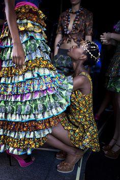 Models wait backstage before a show with designer Liz Ogumbo at Joburg Fashion Week.