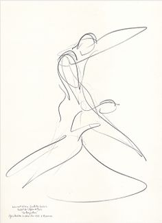"""Drawing by Stanley Roseman of Paris Opera star dancers Laurent Hilaire and Isabelle Guerin, """"La Bayadere,"""" 1995, Private collection, London."""