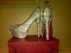 Handmade Genuine Swarovski Crystal Shoes by Blingedoutbliss, $335.00