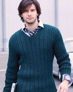 Men's sweater with graduated ribbing. Love!