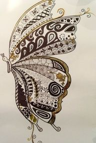 zentangle butterfly | Whimsical Butterfly Zendoodle.
