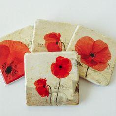 Poppy Flower Coasters - Natural Stone - Home Decor - Housewarming Gift - Garden - Perfect Hostess Gift - Set of 4