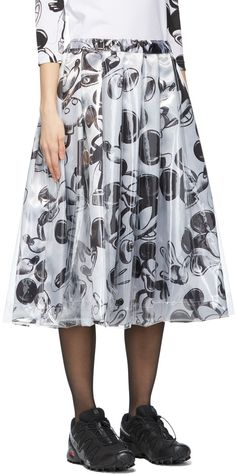 Graphic Patterns, Print Patterns, Mid Length Skirts, Comme Des Garcons, Layered Skirt, Mickey Mouse, Midi Skirt, Layers, Overlay