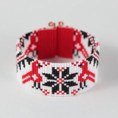 Danube Folk Birds Bead Loom Friendship Bracelet by PuebloAndCo