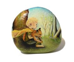 Painted stone, sasso dipinto a mano. The Little Prince