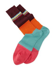Men's striped briefs and socks by #PaulSmith Multi-Top Block #Striped Knit Socks, Med Pink