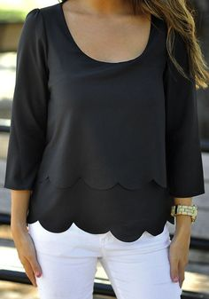 Black Plain Ruffle Backless Wavy Edge Scallop Trims Fashion Chiffon Sexy Blouse - Blouses - Tops