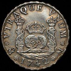Moneda 4 Reales, Columnaria Felipe V 1742Mo.