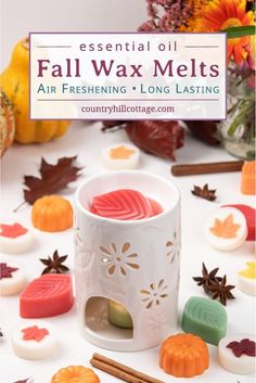 See how to make easy DIY fall wax melts with soy wax and essential oils. Natural non toxic wax tarts are perfect to fragrance your house naturally. Diy Gifts Cheap, Easy Diy Gifts, Diy Crafts For Gifts, Handmade Gifts, Diy Wax Melts, Scented Wax Melts, Homemade Candles, Diy Candles, Fall Scents
