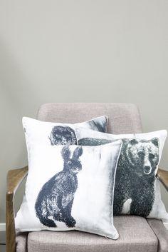 Pentik Fauna Cushion Cover Rabbit   Gorgeous Finnish animal figures decorate Fauna pillow cases designed by Lasse Kovanen.