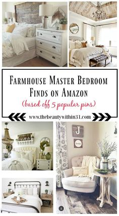 Here is a list of farmhouse master bedroom decor finds from AMAZON based off of popular farmhouse bedroom pins!