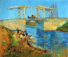 The Langlois Bridge at Arles with Women Washing - Vincent van Gogh