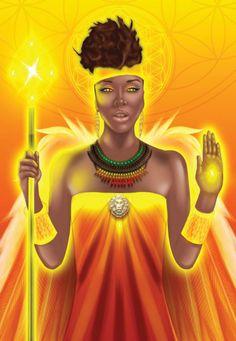 Archangel Ariel from the forthcoming Angel Prayers Oracle Cards deck by Kyle Gray Tarot Card Decks, Tarot Cards, Kyle Gray, Spiritual Images, Angel Warrior, Angel Prayers, Angel Guidance, Black Women Art, Black Art
