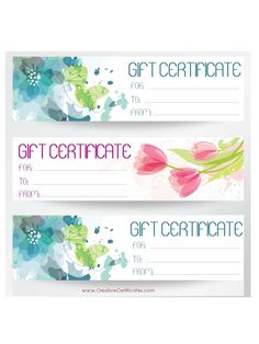 Three Gift Certificate Templates On One Page With Blue And Pink Flowers Free Template