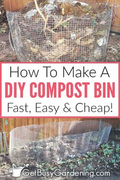 If you want to start composting in your garden for very little money, then you should build your own inexpensive outdoor wire compost bin! Garden Compost, Garden Soil, Garden Care, Edible Garden, Herb Garden, Garden Beds, Vegetable Garden, Homemade Compost Bin, Making A Compost Bin