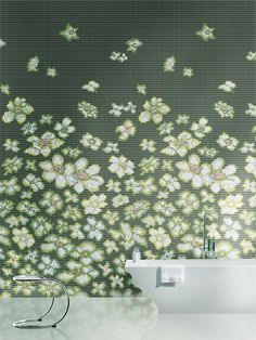 Love the color and always a big fan of mosaic art which effectively makes the space so botanically digitalized. But wouldn't it be better if it was real flowers? Imagine taking a bath enveloped in its scent! Glass Mosaic VETRINA by Mosaico+ Mosaic Wall, Mosaic Glass, Mosaic Tiles, Backsplash Tile, Mosaic Tile Designs, Bathroom Tile Designs, Modern Bathroom Tile, Mosaic Bathroom, White Bathroom