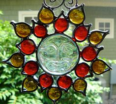 Red Yellow Sunface Flower Stained Glass Suncatcher by dortdesigns
