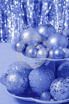 Blue Christmas Card With Balls