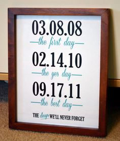 cute way to display the most important and best days of you and your spouse's life for wall art - the day you met or started dating, the proposal date, and the wedding date.